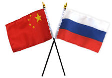 "China Chinese & Russia Russian Flags 4""x6"" Desk Set Table Black Base"