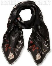 "ALEXANDER MCQUEEN black SKULL CABINETS modal/silk 54""-sqre scarf NWT Authen $475"