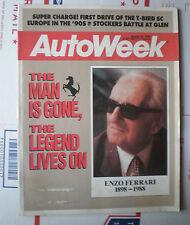 Autoweek Magazine August 22, 1988- Enzo Ferrari