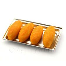 Dolls House Miniature Freshly Baked Bread Rolls On  A  Metal Tray