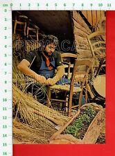 52232 CARTOLINA 1970 BELLUNO TAIBON AGORDINO MESTIERI JOB IMPAGLIATORE METIER