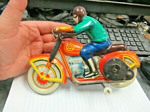 Russia Russian 1950-60s Tin Litho Wind Up Motorcycle & Rider Metal Toy Nice!