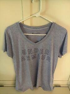 Women's Under Armour Heat Gear Loose Shirt Heathered Purple Sz Large Vneck NWOT
