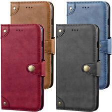 Flip Echt Leder Tasche Handy Hülle Etui TPU Silikon Case Cover für Smartphone