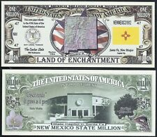 Lot of 100 Bills - NEW MEXICO STATE MILLION DOLLAR w MAP, SEAL, FLAG, CAPITOL