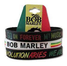 BOB MARLEY REVOLUTIONARIES 3 PC SILICONE WRISTBAND NEW NWT REGGAE BAND WAILERS