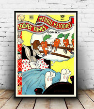 Looney Tunes : Vintage  cartoon comic cover, advert, Poster reproduction.