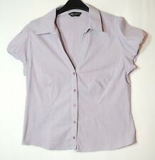 PURPLE WHITE STRIPED LADIES CASUAL TOP BLOUSE SHIRT SIZE 14 DOROTHY PERKINS