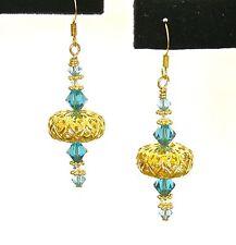 *IAJ* 14k GOLD FILLED Earrings GOLD gp FILIGREE w/ AQUAMARINE SWAROVSKI CRYSTALS