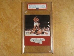 MUHAMMAD ALI SIGNED AUTOGRAPHED CUT & 3X3 PHOTO ENCAPSULATED PSA/DNA