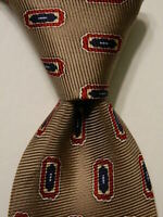 JOS. A. BANK Men's 100% Silk Necktie ITALY Designer Geometric Tan/Red/Blue NWT