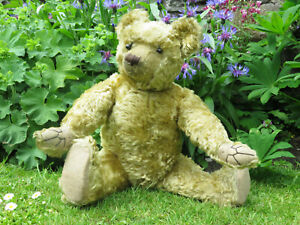 Antique Farnell Teddy Bear Fully Jointed ~ Golden Mohair c1915 Winnie The Pooh