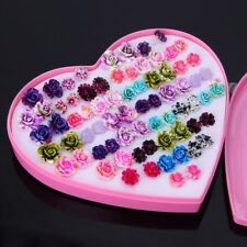 36 pairs Rose Flower Stud Earring Set For Women Small Earring Jewelry Random Mix