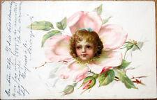1900 Flower Face Postcard: Girl's Flowerface - Color Litho