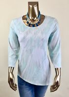 CHICO'S $69 NWT BLUE MIX SPLIT 3/4 SLEEVES SYMMETRICAL TUNIC TOP SIZE 2 ( L )