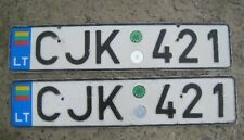 LITHUANIA LICENSE PLATE Nummernschild - PAIR 2 PLATES