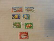 Lot of 7 Djibouti Stamps, 1978-1980 Sea Shells, Fish