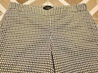Talbots Petite 10P Sz 10 Chatham Crop Skinny Pants Women's Black White Print Zip