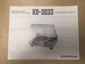 Original Owner User Manual for the Kenwood KD-3033 Turntable