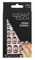 ELEGANT TOUCH 24 FULL COVER FALSE NATURAL NAIL TIP BROWN PRIMA DONNA NAILS TIPS