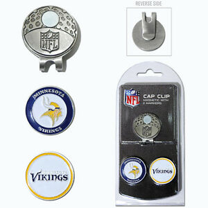 Minnesota Vikings NFL Team Golf Cap Clip with 2 Magnetic Enamel Ball Markers