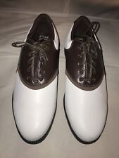 Nike Air Golf Cleats Shoes Waverly Last Mens Size 8.5 Brown White Leather Euc