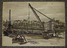 Paris, bords de Seine 1946, dessin aquarellé de Christian Frain