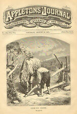 Farm Scene, Boy And Horse, At The Gate, Coming Home, Vintage, 1871 Antique Print