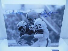 JIM BROWN DAVE ROBINSON SIGNED CLEVELAND BROWNS GREEN BAY PACKERS 16X20 PSA/DNA