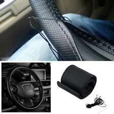 DIY Car Truck Leather Steering Wheel Cover With Needles and Thread Black NEW