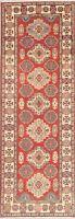 Oriental Super Kazak Wool Runner Rug Hand-Knotted Geometric Medallion Carpet 3x8