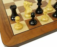 "4 QNS Black & Natural 3 3/4"" Anderssen Staunton Wood Chess Set 19"" Walnut Board"