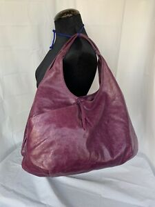 Gianni Chiarini Large Hobo Shoulder Bag Slouchy Soft Purple Leather