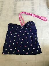Old Navy Womens Halter Blue Floral Tankini Top size M Pink Stripe String