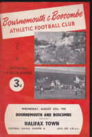 1958/59 BOURNEMOUTH V HALIFAX TOWN 27-08-1958 Division 3