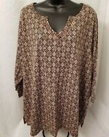 White Stag NWOT Womens Brown Floral Design Shirt Top Blouse Size 3X 22W 24W