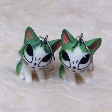NEW Cute Lovely Big Eyes Funny Cat Charms Chandelier Hook Dangle Huggie Earrings
