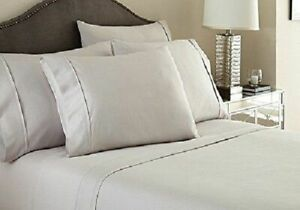Luxury Bedding Items ,1000 Thread Count 100% Egyptian Cotton Light Grey Solid