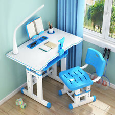 Children Desk and Chair Set Height Adjustable Kids Study Drawing Play Table Blue