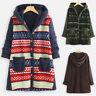 UK Women Vintage Ethnic Print Patchwork Fleece Coat Hooded Buttons Long Jacket