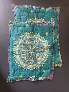 2 ANTHROPOLOGIE BEDDING PILLOW SHAMS BOHO TEAL GREEN MULTI MANDALA MEDALLION