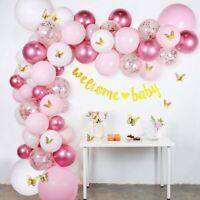 136pcs Pink Confetti Balloon Arch Garland Kit Baby Shower Wedding Birthday Decor