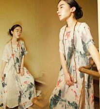 K01 Chinese Painting Lotus Printed Slit Skirt 100% Cotton Women's Long Dress