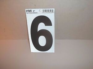 """HMI VINYL REFLECTIVE NUMBER 6  PEEL AND STICK BIG 5"""" MAILBOX HOUSE MOBILE HOME"""