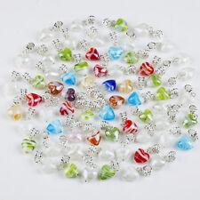10X Colorful Murano Lampwork Glass Heart-shape Big Hole Beads Fit Charm Bracelet