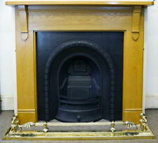 Reclaimed Antique Style Cast Iron Arched Inset with Solid Oak Mantle Surround
