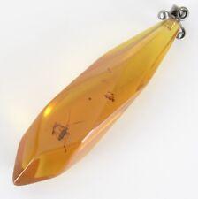 R320) Antik Kettenanhänger Honig Bernstein mit Einschluss Insekt Halskette