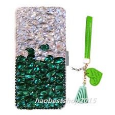 Leather Wallet Case Bling Crystal Rhinestone Card Flip Cover & strap For iPhone