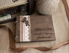 wedding guest book A5, love birds guest book, wood guest book, rustic guest book
