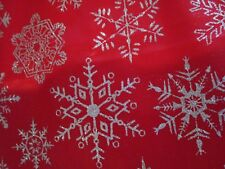 "Christmas Tree Skirt Red W/ Sparkley Silver Snowflakes 48"" Nip"